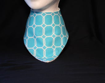 Bandana style baby bib (blue and white octagon print)