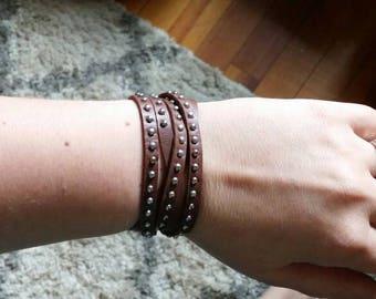 Brown leather stud wrap bracelet