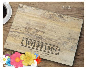Personalized Glass Cutting Board ~ Wood Look Rustic