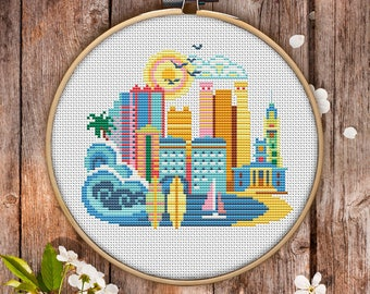 Modern Cross Stitch Pattern of Honolulu for Instant Download - 085  Easy Cross Stitch Counted Cross Stitch Embroidery Design