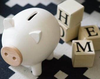 White piggy bank, ceramic piggy bank, large piggy bank, kids piggy bank, modern piggy bank, housewarming gift, modren home decor, PIGZ