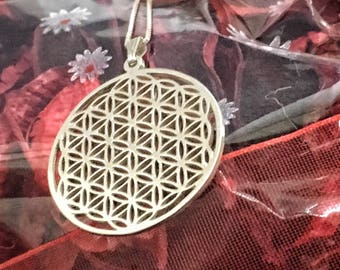 sterling silver pendant Flower of Life with sterling silver chain pendant with chain silver95 necklace
