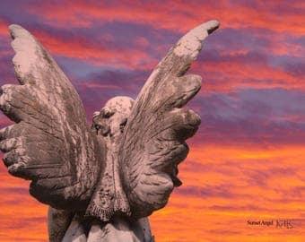 Grave, angel, Sunset, Fine art photograph, wall art, photography------Sunset Angel