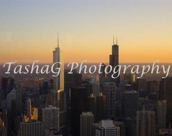 Chicago Cityscape at Sunset Photography Canvas