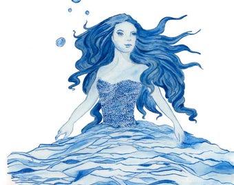 Ltd Edition - A4 & A3 Canvas Print - Original Artwork - Sea Goddess