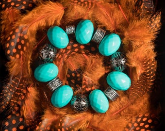 Blue Metal Bracelet, Sky Blue Bracelet, Something Blue, Profits Donated to Charity