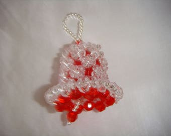 beaded christmas bell, beaded frosted christmas bell, handmade beaded christmas bell