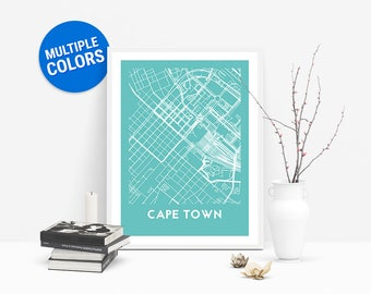 Cape Town Full Color Map Print | Cape Town South Africa Map | Cape Town Art