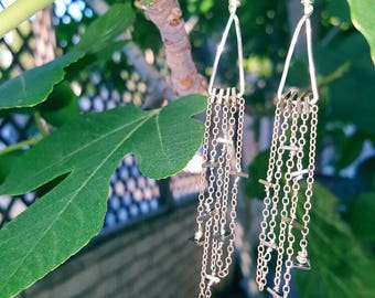 It's Raining Squares - Dangly Chain Earrings