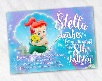 Ariel Invitation for Birthday Party - The Little Mermaid Invitation - Printable Digital File