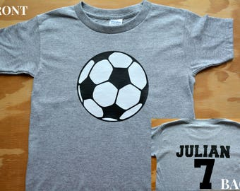 Soccer shirt, Gray soccer ball shirt, personalized name shirt, custom shirt, sports apparel, soccer ball t-shirt, soccer team shirt