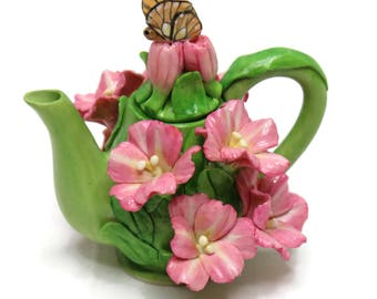 Unique Design Porcelain Miniature Flower Teapot for Home, Fairy Garden, Mini Garden, and Dollhouse Decoration, Collectible Item.