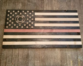 Rustic Wooden American Flag - Thin Red Line with Maltese Cross Fire Department 37 x 20
