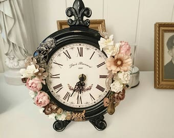 Altered shabby chic wooden clock