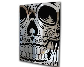 Decorative mirror-decal mirror-acrylic mirror skull stencil mirror-home decor-3mm framed acrylic mirror wall art A2 A3 A4 A5 custom mirror