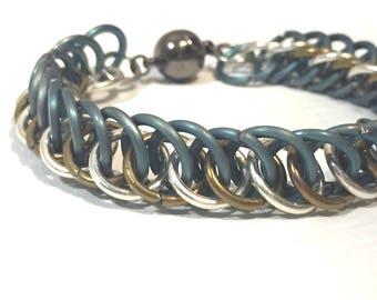 Fine Silver Rose Gold Niobium and Teal Titanium Half Persian 4 in 1 Bracelet