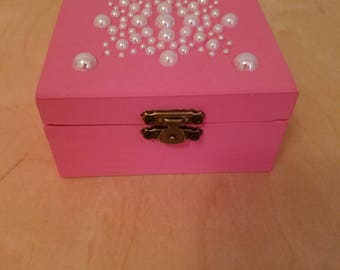wood box jewelry pearls keepsake box handmade