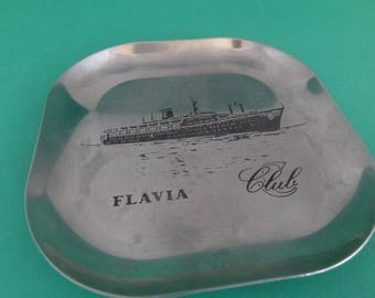 Advertising Ashtray, Coin Plate, Flavia Ship, Cogedar Line, Ex Cunard Liner, Flavian, Lavia