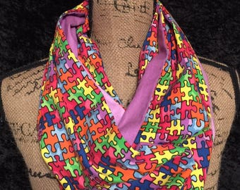 Autism Awareness Infinity Scarf Puzzle Pieces