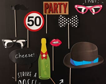 50th Birthday Photo Booth Props, Photo Booth Props