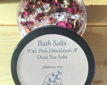 Plumeria Rose Bath Salts with Pink Himalayan Salt, Dead Sea Salt, and Rose Petals