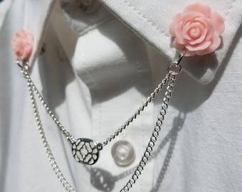 Pink Rose Collar Chain