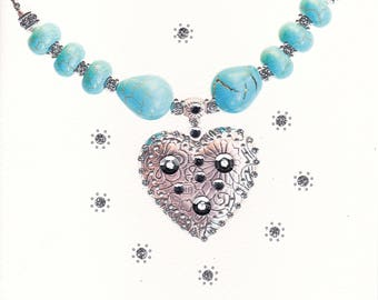 Sparkling Turquoise Silver Heart Necklace