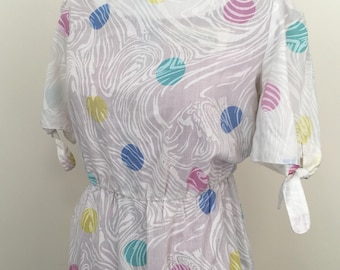 Vintage 1980s 'Chablis' white spot tea dress. Size Small