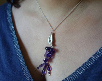 Silver carved with Amethyst pendant