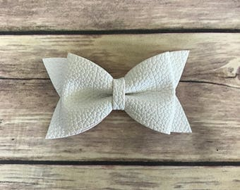 """3"""" White Leather Bow"""