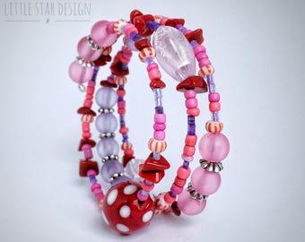 Girls pink and purple beaded wrap bracelet, memory wire bracelet, children's jewelry, Girl birthday gift, kid jewelry, glass beads
