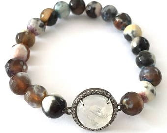 CZ and Rainbow Moonstone with Multi Colored Agate Beaded Stretch Bracelet