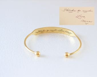 Engraved Cuff Bangle - Engraved Bracelet - Signature Bracelet - Handwriting Cuff Bangle - Mother's Days - Christmas Gift
