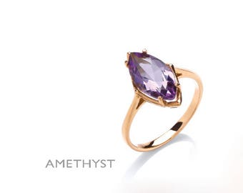 9 Carat Yellow Gold Real Amethyst Marquise Ring - Handmade in the London Jewellery Quarter