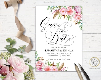 Save the Date Floral Printable, DIY editable Save the Date Template, Rustic Save The Date, Wedding Template, PDF Instant Download FL460