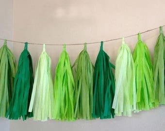 Shades of Green Tassel Garland,Shades of Green Garland, Shades of Green Baby Shower, Shades of Green Wedding Decor, Banner, Bunting