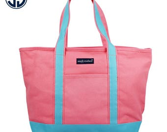 Simply Southern Coral/Aqua Everyday Tote