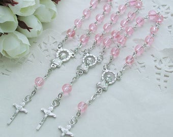 24 Pcs Pink Glass Mini Rosary Favor for Baptism / Christening / First Communion / Quinceanera / Wedding / Recuerdos de Bautizo-JA378-Pnk