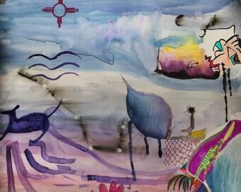 Watercolor Painting Abstract Original