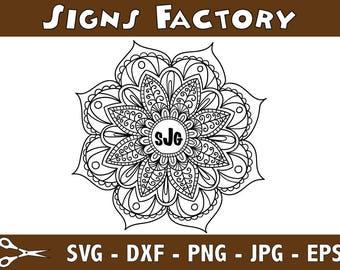 Hand made mandala flower monogram, cricut design, silhouette studio, svg files mandala flower for instant download, svg, png, dxf, eps