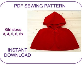 VERY EASY Costume cape PDF sewing pattern. Little Red Riding Hood cape pattern for girls. Halloween cape pattern. Christmas Carol cape.