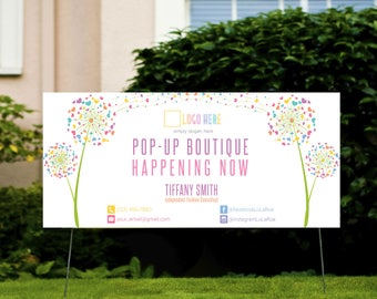 LLR Yard Sign 6x2.5 feet, Pop Up Boutique Advertising Banner, Home Office Approved, Dandelion, Marketing, Fashion Consultant Retailer 01
