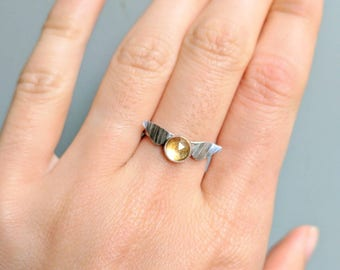 Golden Snitch Ring. Minimalist Jewelry. Citrine Sterling Silver Harry Potter Ring. Harry Potter Promise Ring. Quidditch Jewelry Seeker Ring.