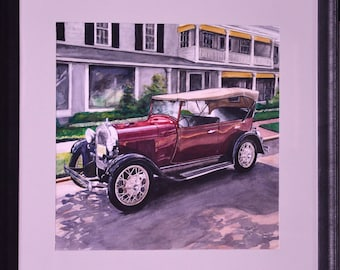 "Original Watercolor Painting of Antique Car by Sherah Martin. ""Reflections on Antique Car"" Matted and framed behind glass."