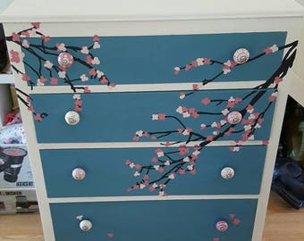 Chest of drawers with cherry blossom design