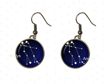 Constellation earrings planet Earth universe cabochons