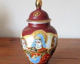 Antique Satsuma vase with lid, hand painted, signed M.Ruko Japan