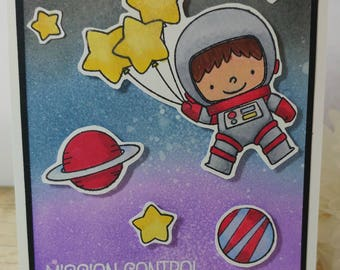 Handmade, handstamped Outer Space Birthday Card