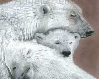 Polar bears - Limited Edition 16 x 12 Print by UK artist Angela Heiron - mounted on board