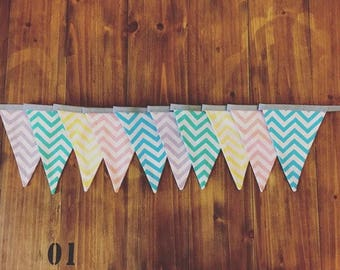 Fabric bunting made from chevron print fabric. Great for parties, garden, balcony, bedroom, wedding, home decor